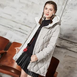 puella菱形格羽绒服女2017冬装新款韩版学生时尚长袖中长款原宿连帽外套20010246
