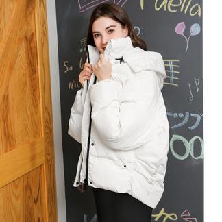 puella白色羽绒服女短款小个子2017冬装新款韩版时尚加厚面包服连帽外套20010254