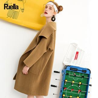 puella双面呢大衣女2017冬装新款韩版时尚oversize中长款茧型毛呢外套20010877