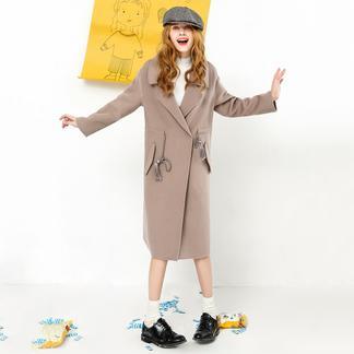 puella收腰双面呢大衣女中长款2017冬装新款韩版chic宽松妮子毛呢外套潮20010942