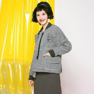 puella茧型呢子大衣2017冬装新款韩版学生森系短款人字纹毛呢小外套女潮20010944