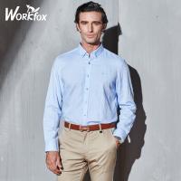 金狐狸男装 衬衣男长袖 修身韩版纯色衬衫男 中年商务男士上衣 T725262652