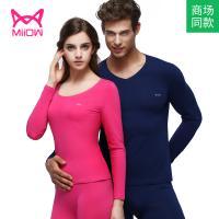 猫人男士女士保暖内衣 情侣精梳棉薄款红色秋衣秋裤套装MOU561102-1