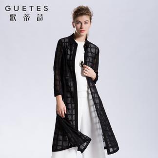 歌蒂诗旗舰店专柜正品2017春季新品长款衬衫裙黑色衬衣1G101282