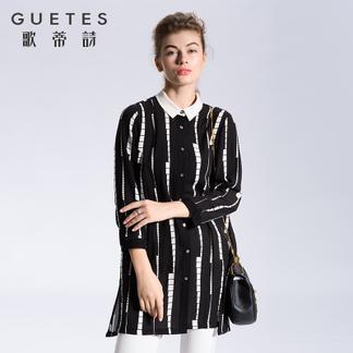 歌蒂诗2017春装商场同款 宽松时尚复古条纹长款衬衫女1G113226