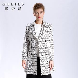 歌蒂诗旗舰店专柜同款2017春装中长款外套风衣女装1G102256