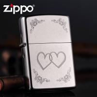 ZIPPO打火机 经典铬花砂 心心相映 情人心对心 24016