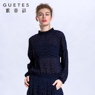 歌蒂诗 2017专柜同步春新品时尚气质宽松波点上衣1G109205