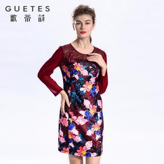 歌蒂诗 2017专柜同步春新品印花优雅直筒中连衣裙1G112024