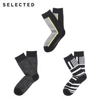 SELECTED思莱德 春季新款条纹撞色男士时尚袜子三件包 41711Q504
