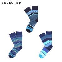 SELECTED思莱德 春季新款微弹棉质条纹男袜子三件包 41711Q502
