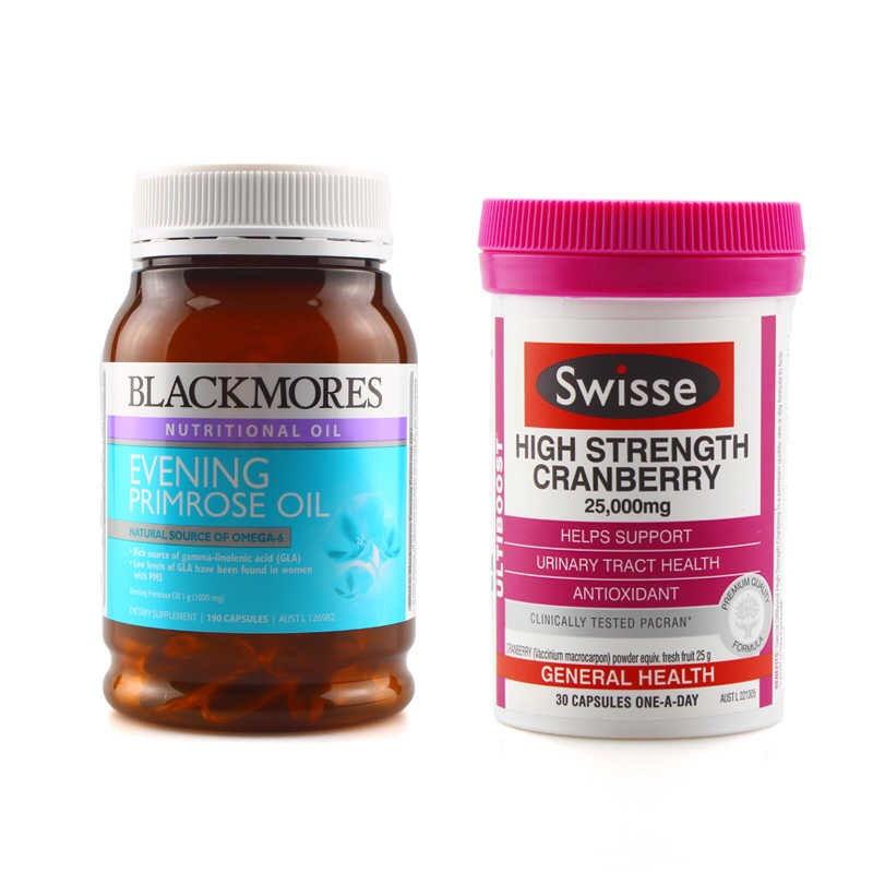 【澳洲直邮|包税包邮】blackmores月见草+swisse蔓越莓缓解痛经调节内分泌
