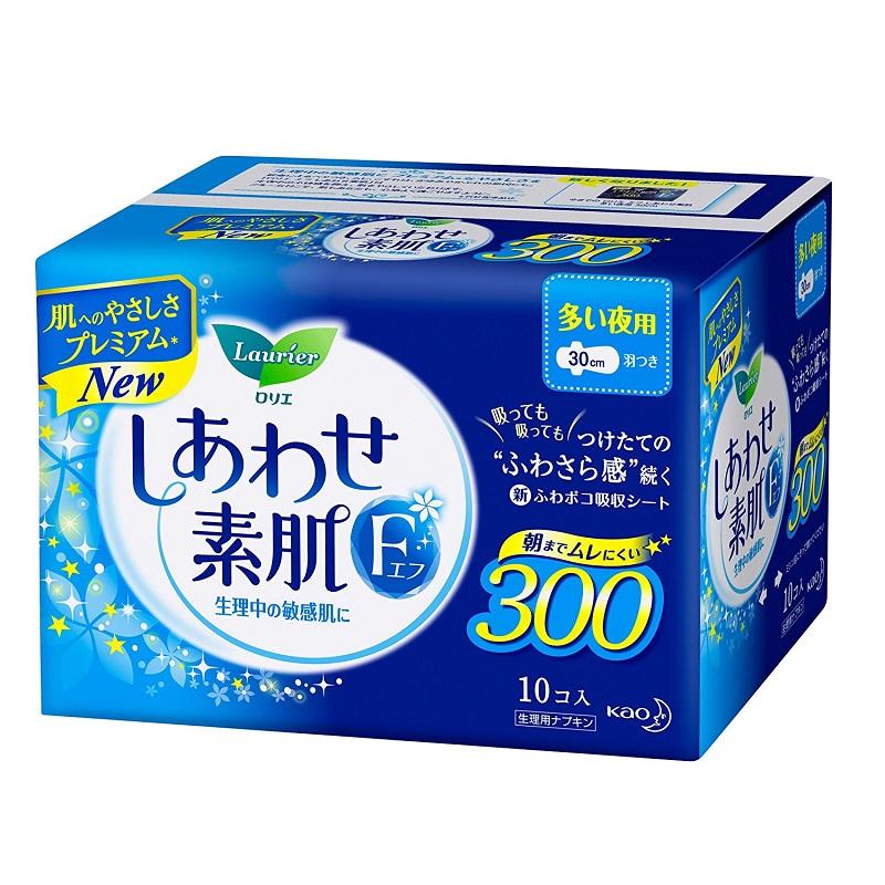 花王 F系列 棉柔卫生巾 夜用 带护翼(蓝底蓝花)30cm*10