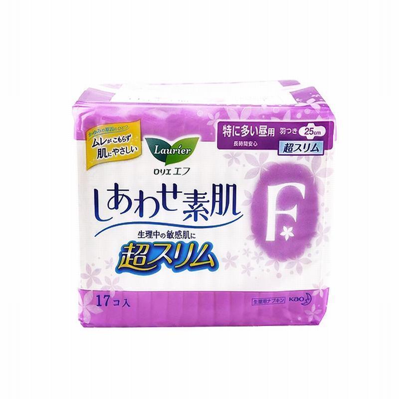 KAO/花王 F系列 超薄卫生巾 日用 带护翼(白底紫花)25cm*17