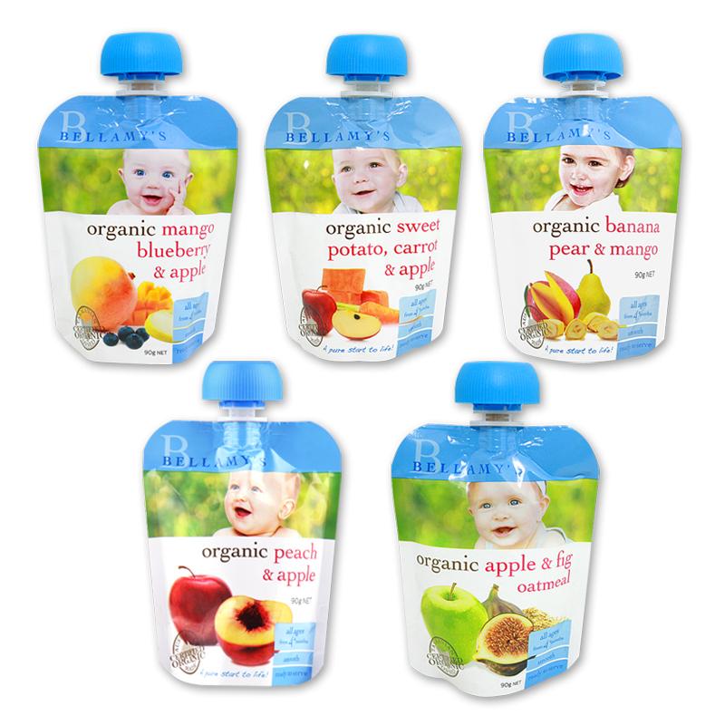 【澳洲直邮|包税包邮】贝拉米 有机果泥  5种口味组合 90g*5