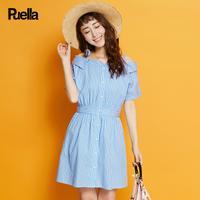 puella2017夏新款甜美一字领条纹衬衫型连衣裙女20009839