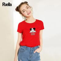 puella2017夏新款迪士尼米奇刺绣宽松圆领T恤女20009951