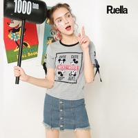 puella2017夏新款迪士尼米奇休闲亮片绑带t恤女20009952
