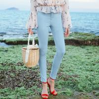 拉夏贝尔2017夏季新款 九分铅笔裤纯色修身小脚牛仔裤女10012655