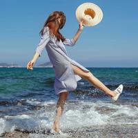 拉夏贝尔2017夏季新款宽松条纹中长款衬衫裙七分袖连衣裙10013151