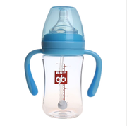 Goodbaby好孩子母乳实感宽口径握把吸管玻璃奶瓶260ml(粉蓝)B80364