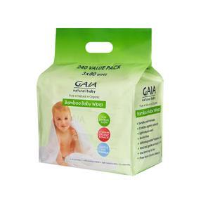 【澳洲直邮|包税包邮】GAIA Baby Bamboo Wipes天然竹质湿巾3*80抽