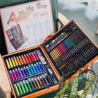 笔儿童益智儿童早教学习儿童水彩笔画笔蜡笔套装礼盒绘画学习工具箱木质礼盒套装礼品