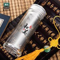 捷夫双层玻璃杯子女口水杯男泡茶杯过滤防烫防漏耐高温双层耐热玻璃玻璃杯 和美