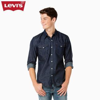 Levi's李维斯男士纯棉翻领长袖修身牛仔衬衫65816-0115