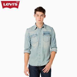 Levi's李维斯男士翻领纯棉牛仔长袖衬衫65816-0199
