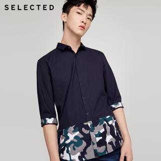 SELECTED思莱德新款纯棉男士修身七分袖翻领衬衫417331509