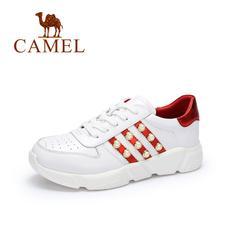 camel 骆驼女鞋 2017秋季新品时尚个性板鞋 潮流百搭珠饰小白鞋