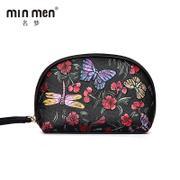 名梦(minmen) 手绘零钱包女真皮手包复古压花拉链小钱包短款纯牛皮植物花卉手拿包