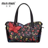 名梦(minmen)真皮手提包复古民族风单肩包大包创意植物花卉包