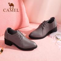 camel 骆驼女鞋 2017秋季新款 英伦风百搭粗跟单鞋女 复古皮鞋