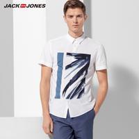 JackJones杰克琼斯纯棉个性水墨印花夏男装短袖衬衫衣 217204509
