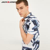JackJones杰克琼斯进口修身棉尖领弹力男夏短袖衬衫衣 217204524