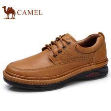 camel 骆驼男鞋 2017秋季手工缝合日常复古户外休闲皮鞋牛皮系带厚底鞋