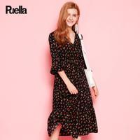puella2017秋装新款韩版甜美高腰雪纺V领喇叭袖碎花收腰中长款连衣裙20010415