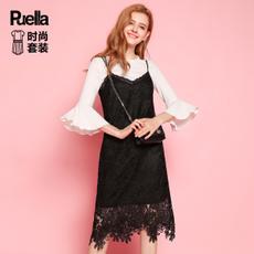 puella2017秋装新款时尚气质蕾丝吊带连衣裙薄款针织衫内搭套装裙两件套20010417