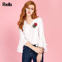 puella2017秋装新款甜美直筒V领不规则七分袖荷叶边喇叭袖绣花衬衫女潮20010437