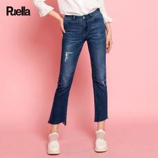puella2017秋装新款韩版宽松破洞bf风百搭显瘦微喇叭长裤子学生牛仔裤女20010480