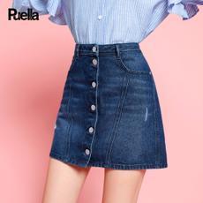 puella2017秋装新款韩版时尚纯色破洞单排扣牛仔裙女短裙休闲A字包臀裙20010481