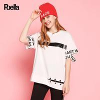 puella2017秋装新款宽松字母印花金属圆环装饰中长款短袖t恤上衣女潮20010524