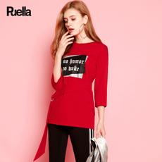 puella2017秋装新款宽松直筒七分袖字母印花中长款圆领t恤上衣女百搭20010535
