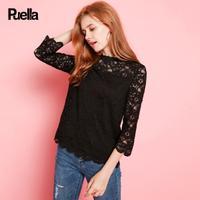 puella2017秋装新款韩版甜美修身纯色镂空七分袖上衣圆领蕾丝衫女显瘦20010539