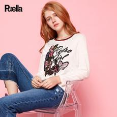 puella2017秋装新款休韩版宽学生松圆领时尚绣花中长款上衣薄款针织衫女20010543