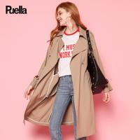 puella2017秋装新款休闲宽松中长款长袖撞色织带卡其色收腰风衣外套女20010579