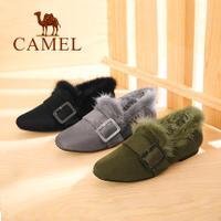 camel 骆驼女鞋 2017冬季新款 舒适低跟方头方跟套脚单鞋时尚保暖毛毛鞋