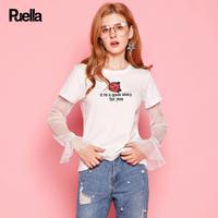 puella普埃拉2017秋新款甜美绣花字母蕾丝花边袖子T恤女20010325
